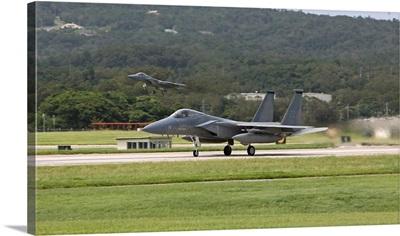 An F-15 takes off from Kadena Air Base, Okinawa, Japan