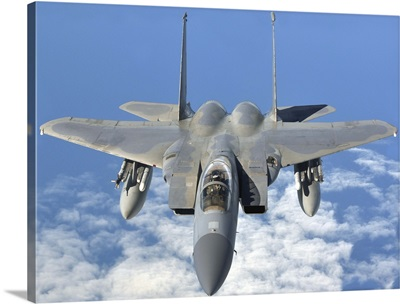 An F-15C Eagle prepares to refuel over Orland, Norway