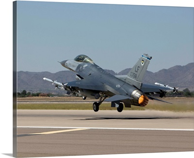 An F-16 Fighting Falcon takes off from Luke Air Force Base, Arizona