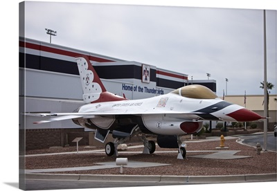 An F-16 Thunderbird on display in front of the Thunderbirds Museum