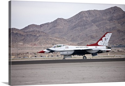 An F-16C Thunderbird sits on the runway at Nellis Air Force Base, Nevada