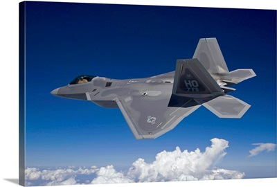 An F-22 Raptor flies around Southern New Mexico