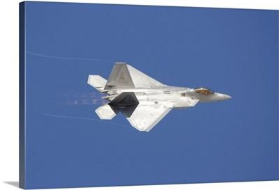 An F-22 Raptor in flight over Nellis Air Force Base, Nevada