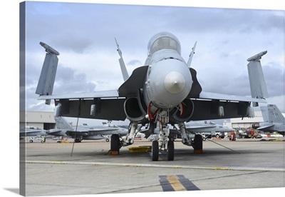 An F/A-18D Hornet on the ramp at Marine Corps Air Station Miramar