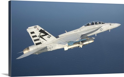 An F/A-18F Super Hornet armed with an AGM-88E AARGM missile
