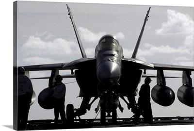 An F/A18E Super Hornet on the flight deck aboard USS Ronald Reagan
