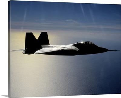 An F/A22 Raptor flies a training mission