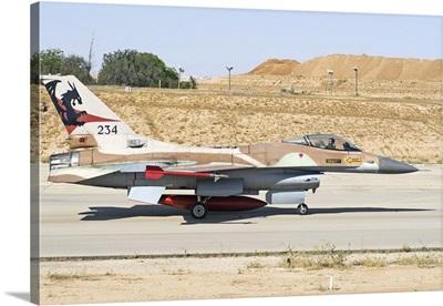 An Israeli Air Force F-16 Netz taxiing at Nevatim Air Force Base