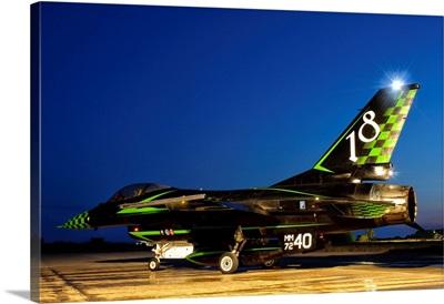 An Italian Air Force F-16ADF in a custom paint scheme