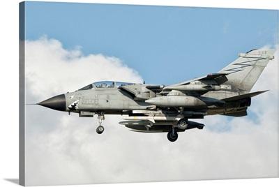 An Italian Air Force Panavia Tornado ECR returns from a mission over Libya
