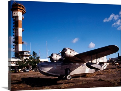 Antique Navy Seaplane in front of World War II Control Tower Ford Island Pearl Harbor