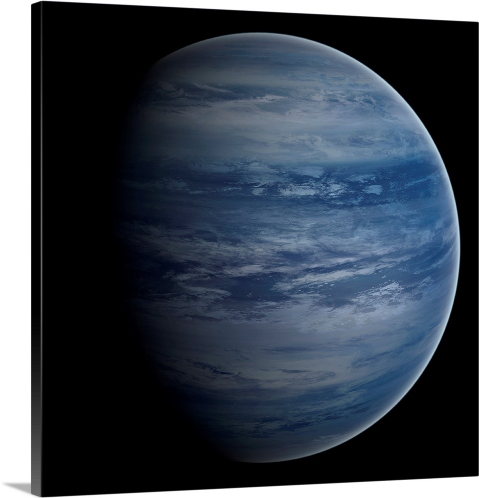 Artists concept of a blue white gas giant planet