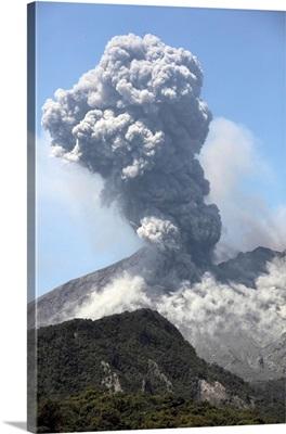 Ash cloud eruption from Sakurajima volcano, Japan