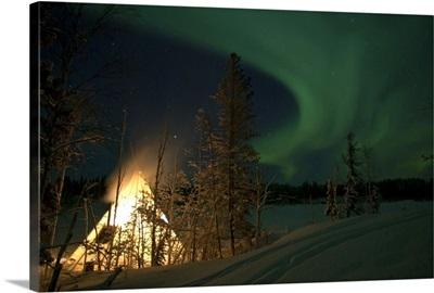 Aurora above Aurora Village Aurora Lake Yellowknife Northwest Territories Canada
