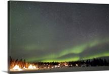 Aurora and Milky Way Aurora Village Yellowknife Northwest Territories Canada