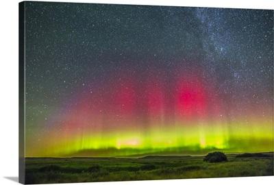 Aurora borealis above Grasslands National Park in Saskatchewan, Canada