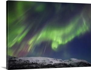 Aurora Borealis Over Blafjellet Mountain In Troms County