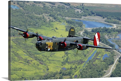 B-24 Liberator flying over Mt. Lassen, California