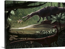 Baryonyx walkeri fishing while a Pelecanimimus observes from the other side