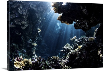 Beams From The Sun Illuminate Underwater Caverns, Red Sea