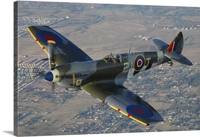 British Supermarine Spitfire Mk-16 flying over Chino, California