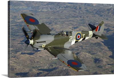 British Supermarine Spitfire Mk-16 flying over Northern California coastline