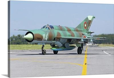 Bulgarian Air Force MiG-21bis taxiing at Graf Ignatievo Air Base