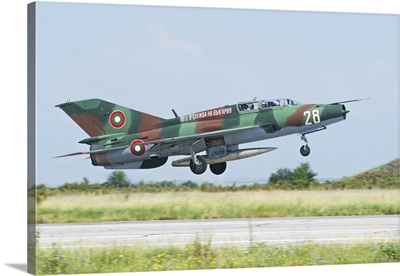 Bulgarian Air Force MiG-21UM Mongol taking off