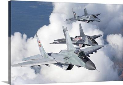 Bulgarian and Polish Air Force MiG-29s aircraft flying over Bulgaria