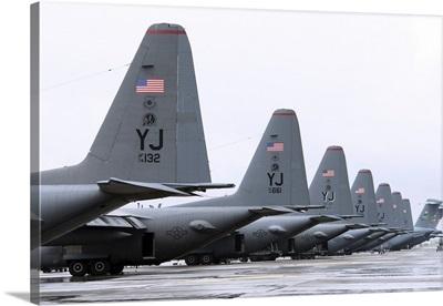 C-130 Hercules on the flightline at Yokota Air Base, Japan