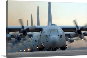 C130 Hercules Aircraft Taxi Out For A Mission During A