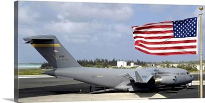 C17 Globemaster III sits on the flightline at Wake Island
