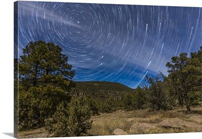 Circumpolar star trails over the Gila National Forest in southern New Mexico