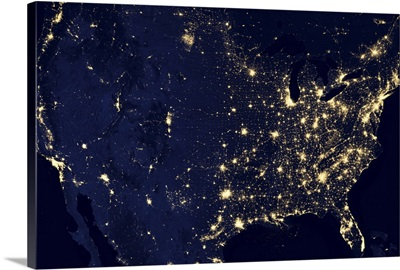 City lights of the United States at night