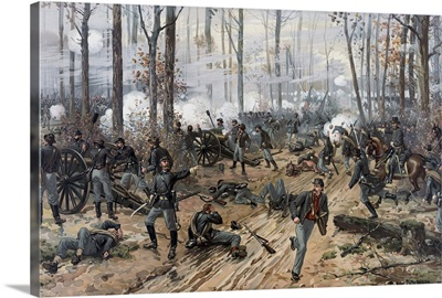 Civil War painting of Union and Confederate troops at The Battle of Shiloh