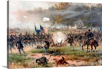 Civil War painting of Union and Confederate troops fighting at The Battle of Antietam