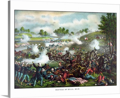 Civil War painting of Union and Confederate troops fighting at The Battle of Bull Run