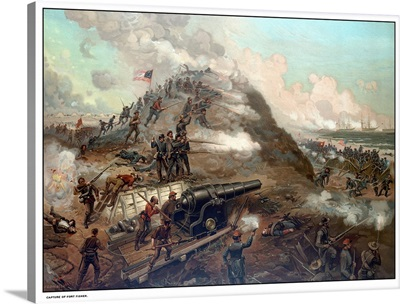Civil War print depicting the Union Army's capture of Fort Fisher
