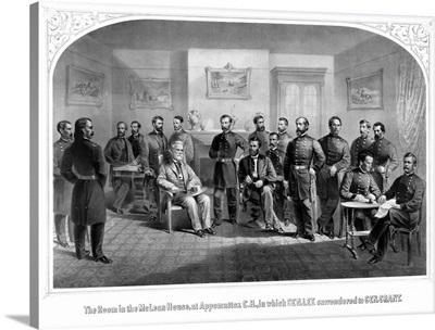 Civil War print of General Lee surrendering his Confederate forces to General Grant