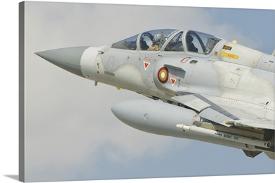 Close-up of nose cone of a Qatar Emiri Air Force Mirage 2000 in flight