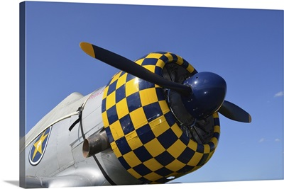 Close-up view of the propeller on an AT-6F Texan aircraft