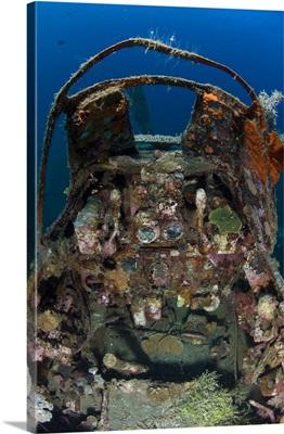 Cockpit of a Mitsubishi Zero fighter plane wreck underwater