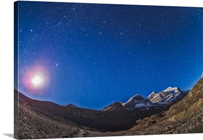 Constellations of Perseus, Andromeda nad Pegasus above the Columbia Icefields, Canada