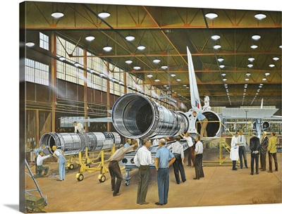 Construction of the DH.98 Mosquito fighter-bomber of World War II