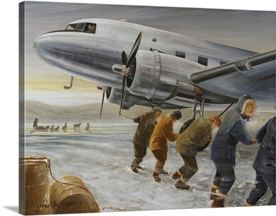 Crew hand starting the port engine of the DC-3 Bluebonnet Belle