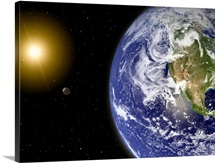 Digitally enhanced planet Earth with hypothetical waterbearing moons