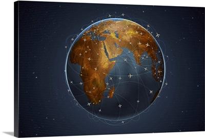 Digitally generated image of airline flight paths around the globe