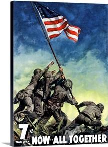 Digitally restored vector war propaganda poster. 7th War Loan, Now All Together