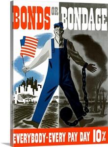 Digitally Restored Vector War Propaganda Poster Bonds Or