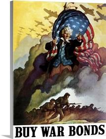 Digitally restored vector war propaganda poster. Buy War Bonds